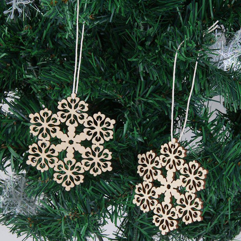 10 Pcs Christmas Decorations Snowflake Wooden HangingHOME<br><br>Color: WOOD; Event &amp; Party Item Type: Other; Occasion: Christmas; Weight: 0.1050kg; Package Contents: 10 x Wooden Snowflakes (Pcs);