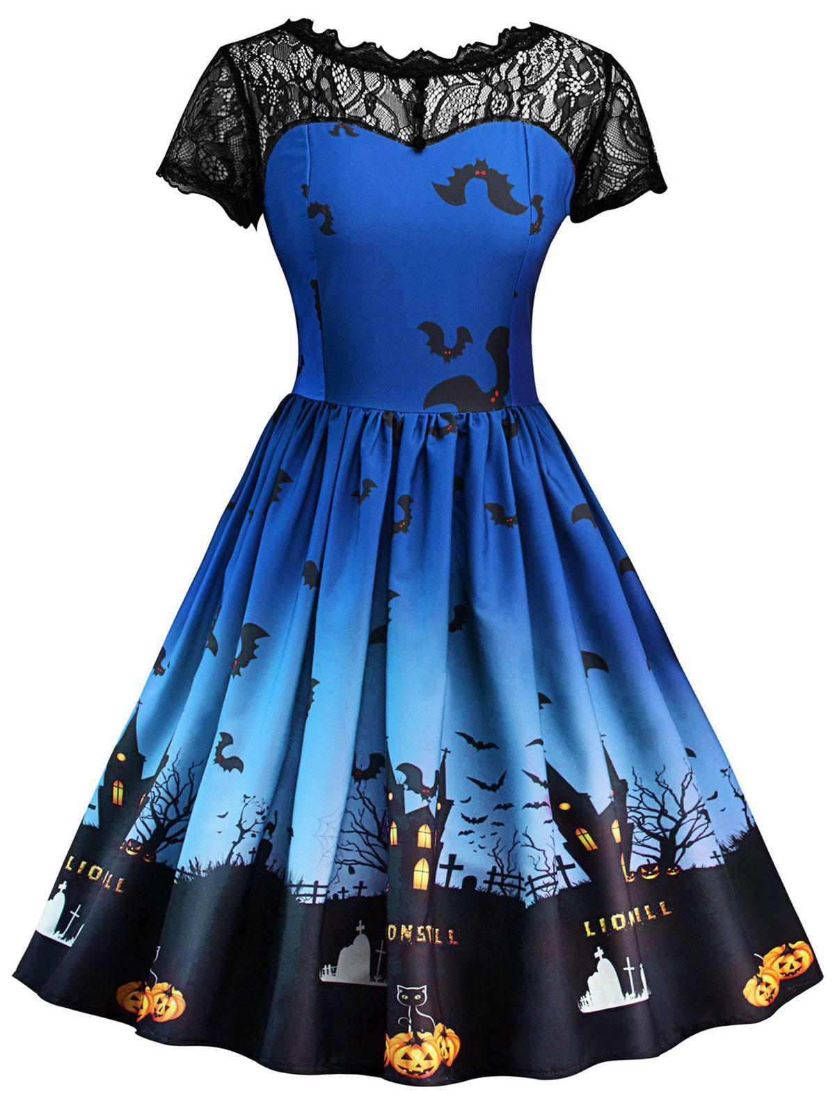 Vintage Lace Insert Halloween DressWOMEN<br><br>Size: 2XL; Color: ROYAL BLUE; Style: Vintage; Material: Cotton,Polyester; Silhouette: A-Line; Dress Type: Fit and Flare Dress,Skater Dress,Swing Dress; Dresses Length: Knee-Length; Neckline: Round Collar; Sleeve Length: Short Sleeves; Pattern Type: Patchwork,Print; With Belt: No; Season: Fall,Spring; Weight: 0.4000kg; Package Contents: 1 x Dress;