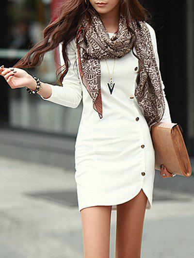Short Bodycon Long Sleeve DressWOMEN<br><br>Size: L; Color: WHITE; Style: Brief; Material: Polyester; Silhouette: Bodycon; Dresses Length: Mini; Neckline: Round Collar; Sleeve Length: Long Sleeves; Pattern Type: Solid Color; With Belt: No; Season: Fall; Weight: 0.3300kg; Package Contents: 1 x Dress;