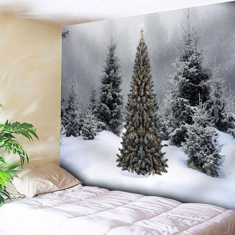 Wall Decor Christmas Snow Tree TapestryHOME<br><br>Size: W79 INCH * L59 INCH; Color: GRAY; Style: Festival; Theme: Christmas; Material: Cotton,Polyester; Feature: Removable,Washable; Shape/Pattern: Snow,Tree; Weight: 0.2900kg; Package Contents: 1 x Tapestry;