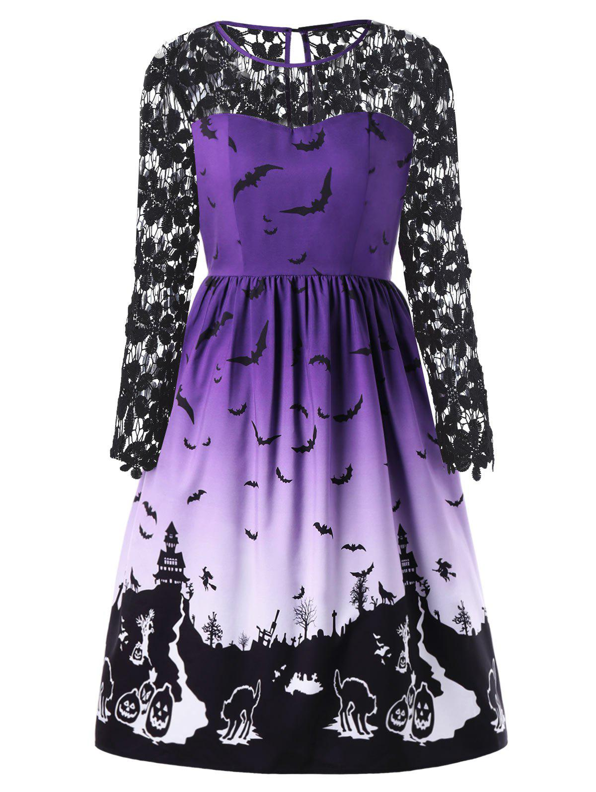 Latest Halloween Plus Size Bat Print Lace Insert Dress