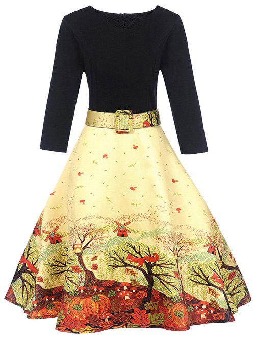 A Line Vintage Printed Party DressWOMEN<br><br>Size: L; Color: YELLOW; Style: Vintage; Material: Polyester; Silhouette: A-Line; Dresses Length: Knee-Length; Neckline: Round Collar; Sleeve Length: 3/4 Length Sleeves; Pattern Type: Print; With Belt: Yes; Season: Fall,Spring; Weight: 0.3500kg; Package Contents: 1 x Dress  1 x Belt;