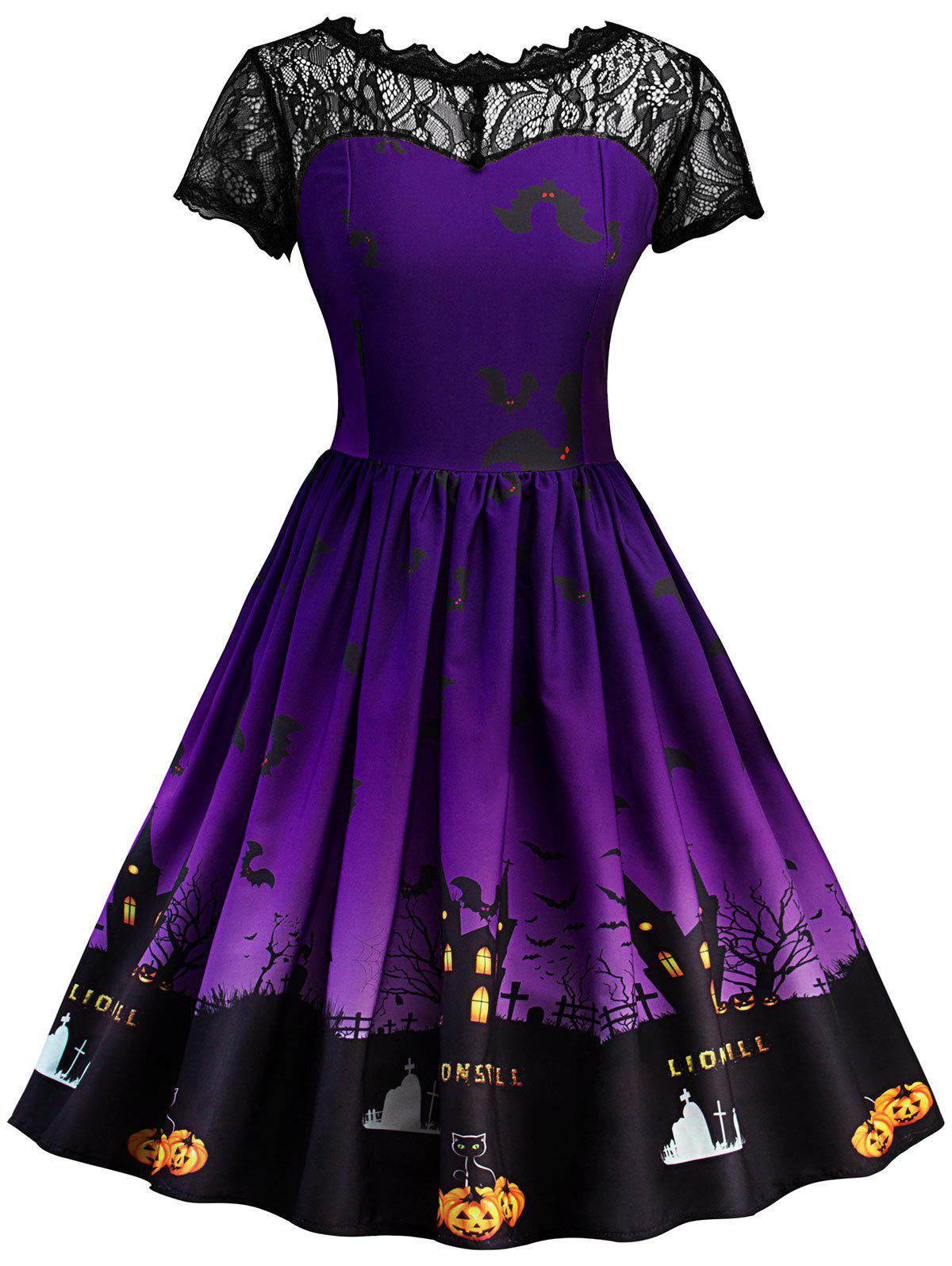 Vintage Lace Insert Halloween DressWOMEN<br><br>Size: L; Color: PURPLE; Style: Vintage; Material: Cotton,Polyester; Silhouette: A-Line; Dress Type: Fit and Flare Dress,Skater Dress,Swing Dress; Dresses Length: Knee-Length; Neckline: Round Collar; Sleeve Length: Short Sleeves; Pattern Type: Patchwork,Print; With Belt: No; Season: Fall,Spring; Weight: 0.4000kg; Package Contents: 1 x Dress;
