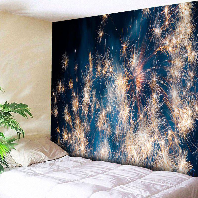 Christmas Fireworks Wall Decor TapestryHOME<br><br>Size: W91 INCH * L71 INCH; Color: BLUE; Style: Festival; Theme: Christmas; Material: Cotton,Polyester; Feature: Removable,Washable; Shape/Pattern: Print; Weight: 0.3950kg; Package Contents: 1 x Tapestry;