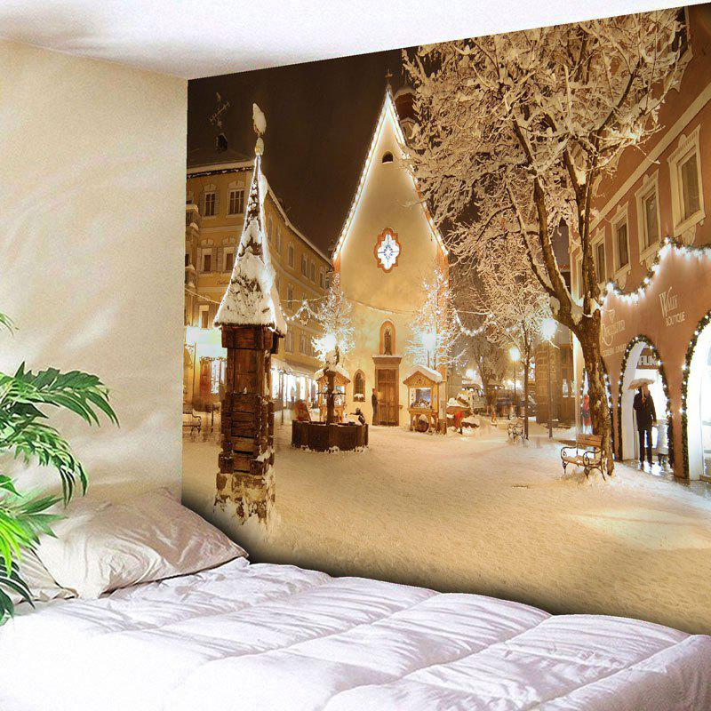 Christmas Town Snowscape Print Wall TapestryHOME<br><br>Size: W91 INCH * L71 INCH; Color: YELLOW; Style: Festival; Theme: Christmas; Material: Cotton,Polyester; Feature: Removable,Washable; Shape/Pattern: Buildings; Weight: 0.3950kg; Package Contents: 1 x Tapestry;