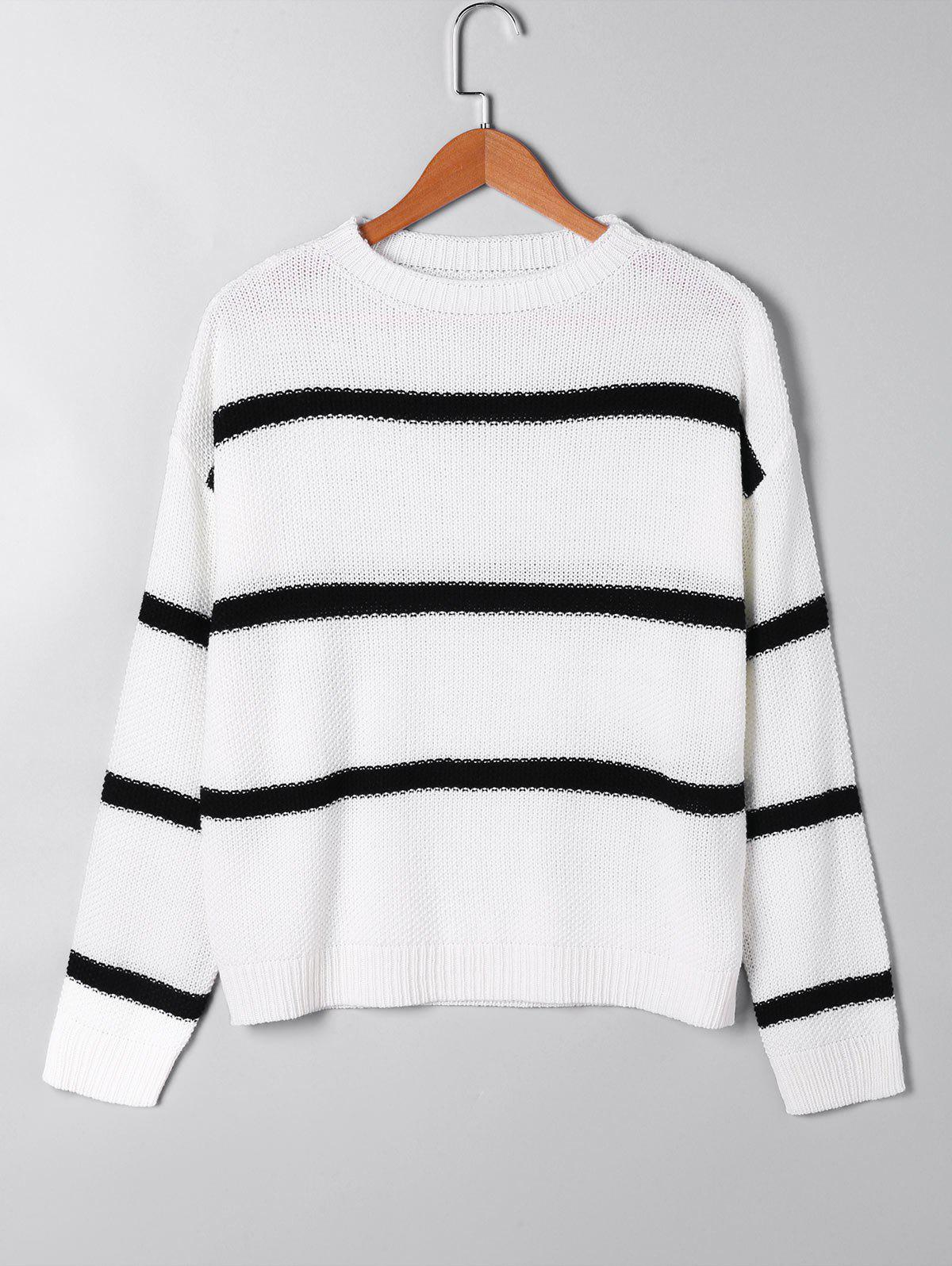 Two Tone Open Knitted SweaterWOMEN<br><br>Size: S; Color: WHITE; Type: Pullovers; Material: Acrylic; Sleeve Length: Full; Collar: Crew Neck; Style: Casual; Pattern Type: Striped; Season: Fall,Spring; Weight: 0.3000kg; Package Contents: 1 x Sweater;