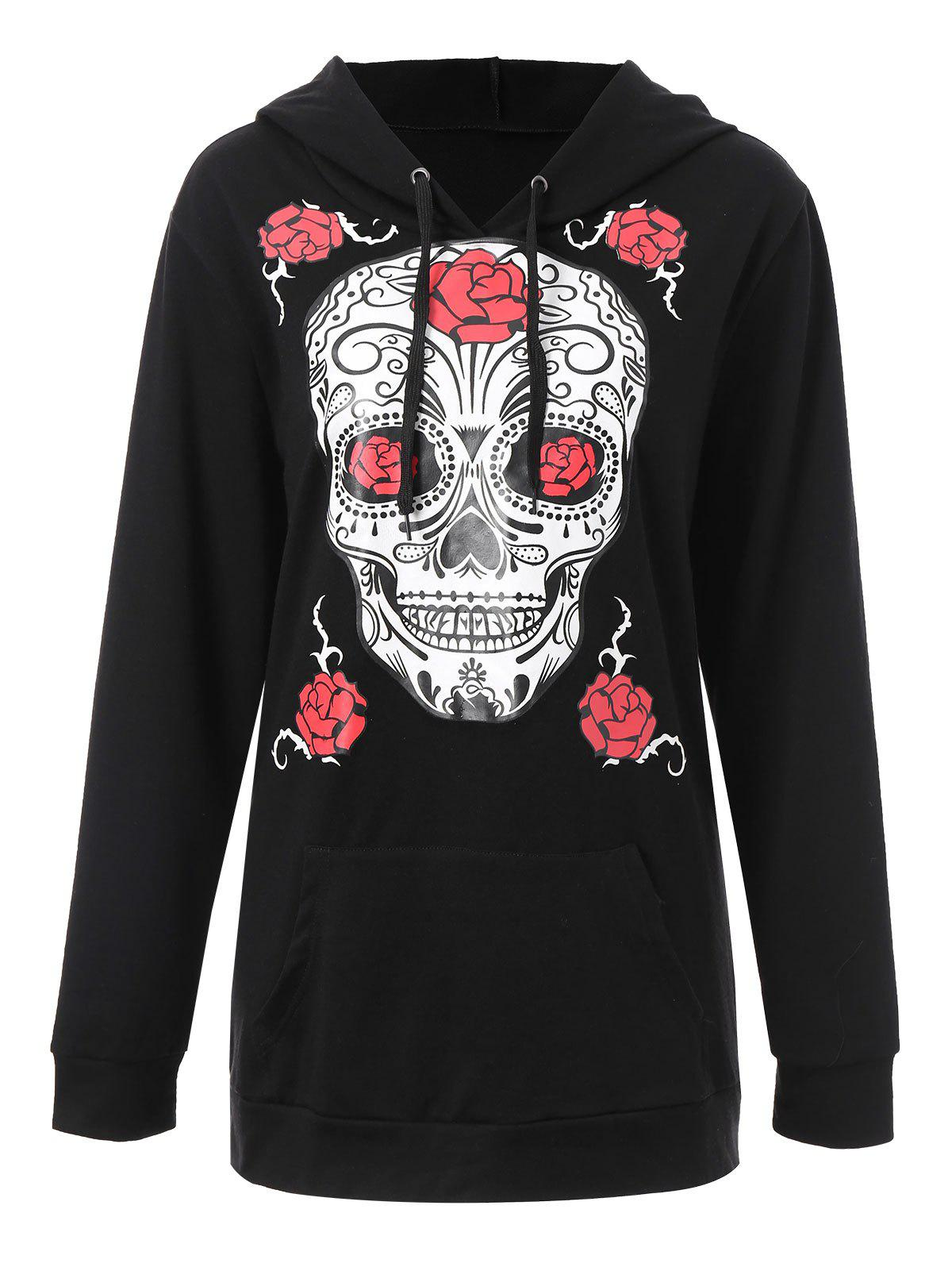 Plus Size Halloween Floral Skull Graphic HoodieWOMEN<br><br>Size: 2XL; Color: BLACK; Material: Cotton Blend,Polyester; Shirt Length: Regular; Sleeve Length: Full; Style: Fashion; Pattern Style: Floral,Skulls; Embellishment: Front Pocket; Season: Fall,Winter; Weight: 0.5300kg; Package Contents: 1 x Hoodie;