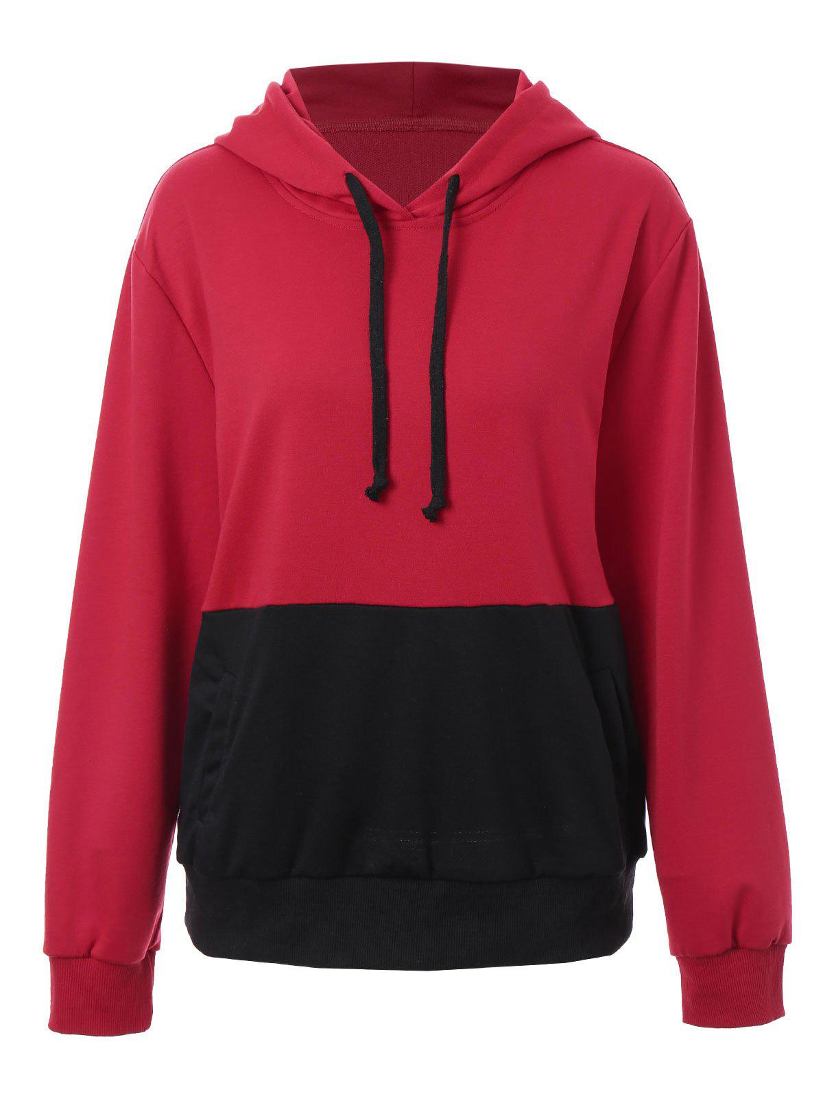 Plus Size Kangaroo Pocket Color Block HoodieWOMEN<br><br>Size: XL; Color: RED; Material: Polyester; Shirt Length: Regular; Sleeve Length: Full; Style: Fashion; Pattern Style: Others; Embellishment: Front Pocket; Season: Fall,Winter; Weight: 0.5800kg; Package Contents: 1 x Hoodie;