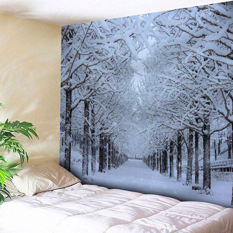 Wall Hanging Snowscape Printed TapestryHOME<br><br>Size: W59 INCH * L51 INCH; Color: WHITE; Style: Natural; Theme: Landscape; Material: Nylon,Polyester; Feature: Removable,Washable; Shape/Pattern: Snow,Tree; Weight: 0.1800kg; Package Contents: 1 x Tapestry;