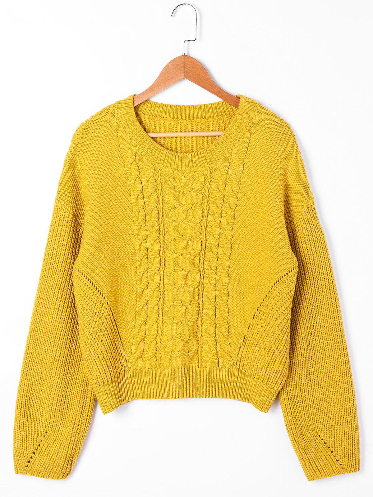 Cable Knit Drop Shoulder SweaterWOMEN<br><br>Size: M; Color: YELLOW; Type: Pullovers; Material: Acrylic; Sleeve Length: Full; Collar: Round Neck; Style: Casual; Pattern Type: Solid; Season: Fall,Spring,Winter; Weight: 0.5000kg; Package Contents: 1 x Sweater;