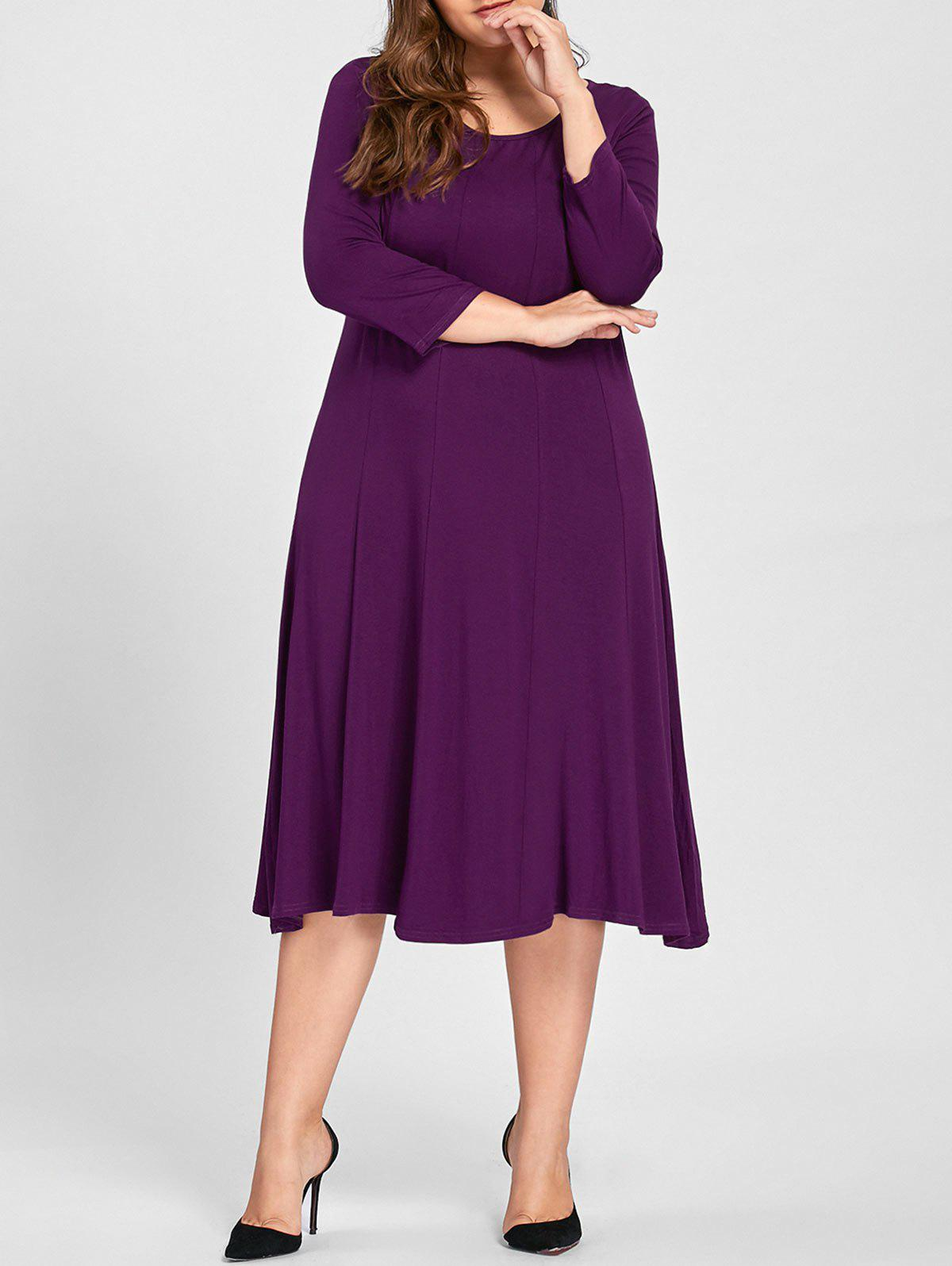 Plus Size A Line Midi T Shirt DressWOMEN<br><br>Size: 3XL; Color: PURPLE; Style: Casual; Material: Cotton,Polyester; Silhouette: A-Line; Dresses Length: Mid-Calf; Neckline: Round Collar; Sleeve Length: 3/4 Length Sleeves; Pattern Type: Solid; With Belt: No; Season: Fall; Weight: 0.5200kg; Package Contents: 1 x Dress;
