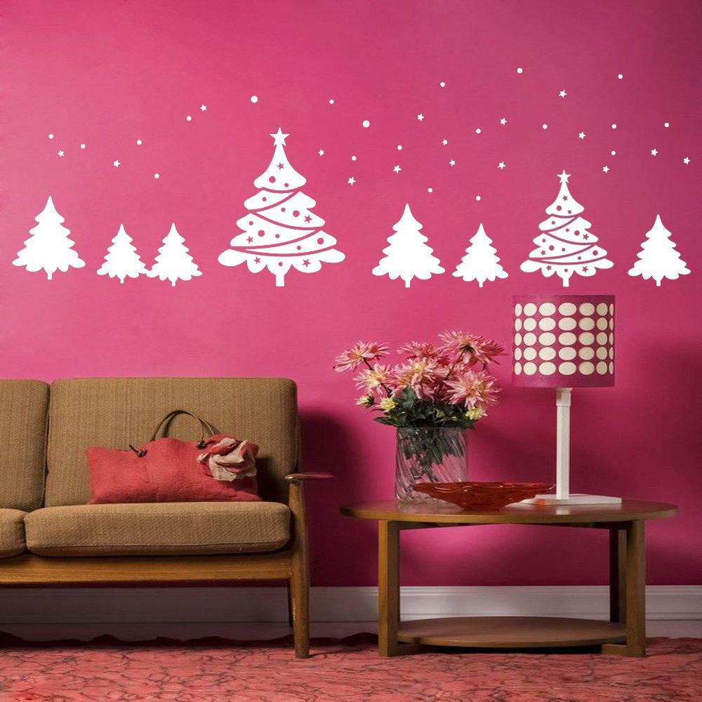 Christmas Tree Pattern Wall Art Sticker For BedroomsHOME<br><br>Size: 56*31CM; Color: WHITE; Wall Sticker Type: Plane Wall Stickers; Functions: Decorative Wall Stickers; Theme: Christmas; Pattern Type: Plant; Material: PVC; Feature: Removable; Weight: 0.0900kg; Package Contents: 1 x Wall Sticker;