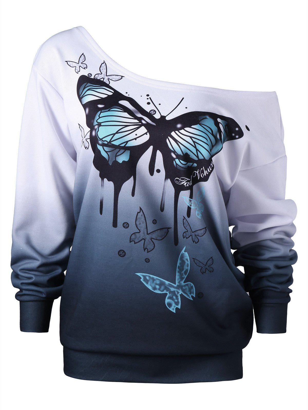 Plus Size Buttterfly Print Ombre SweatshirtWOMEN<br><br>Size: XL; Color: WHITE; Material: Cotton,Polyester; Shirt Length: Regular; Sleeve Length: Full; Style: Fashion; Pattern Style: Ombre,Print; Season: Fall,Spring; Weight: 0.4500kg; Package Contents: 1 x Sweatshirt;