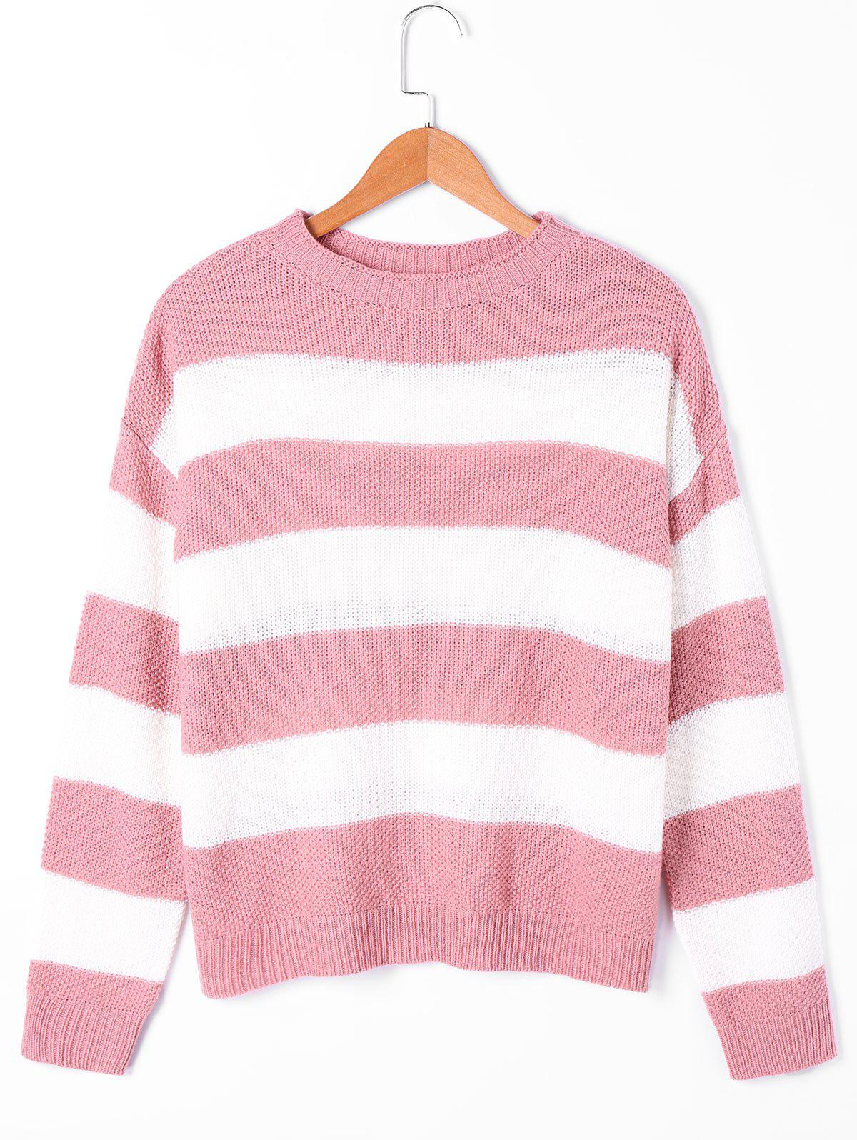 Chic Two Tone Crew Neck Striped Sweater