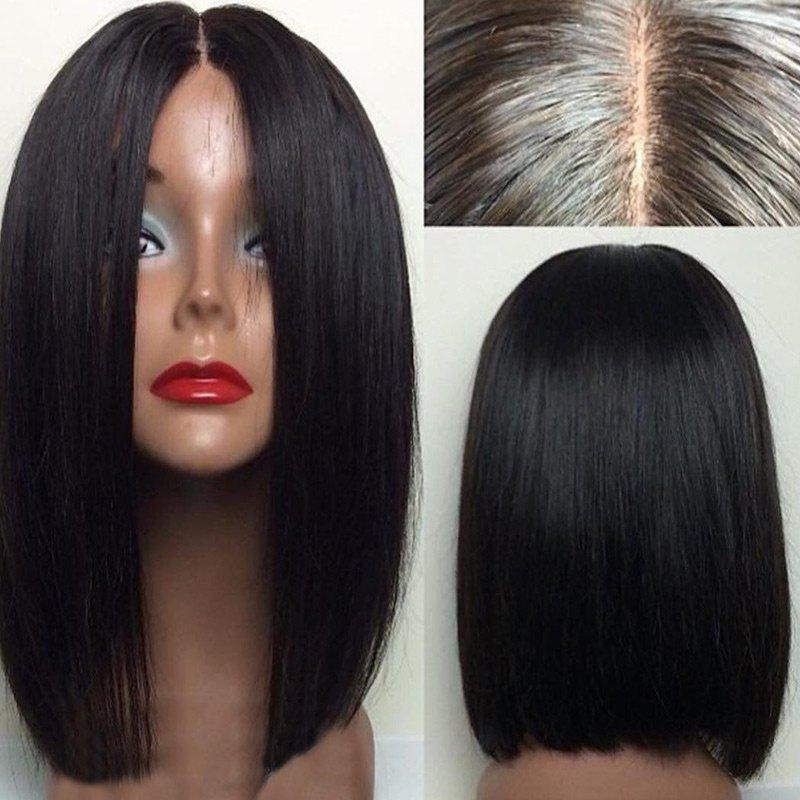 Short Center Parting Straight Bob Human Hair Lace Front WigHAIR<br><br>Color: NATURAL BLACK; Type: Full Wigs; Cap Construction: Lace Front; Style: Bob; Cap Size: Average; Material: Human Hair; Bang Type: Middle; Length: Short; Lace Wigs Type: Lace Front Wigs; Occasion: Daily; Density: 130%; Length Size(Inch): 8; Weight: 0.2000kg; Package Contents: 1 x Wig;