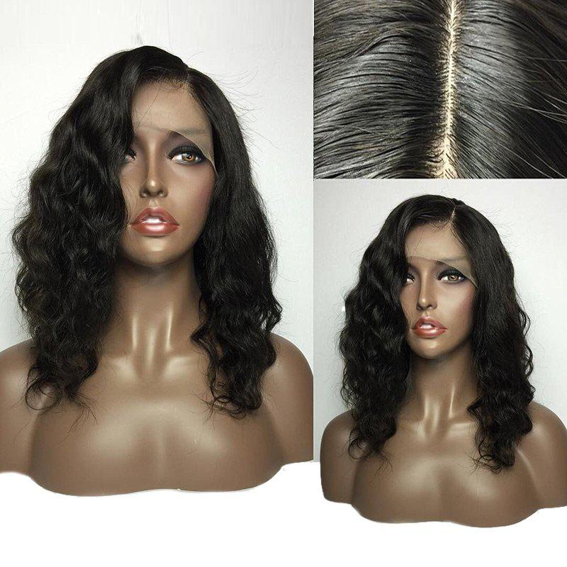 Sale Medium Deep Side Parting Fluffy Natural Wavy Lace Front Human Hair Wig