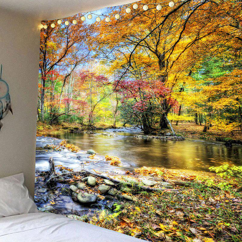 Waterproof Brook Grove Pattern Wall Hanging TapestryHOME<br><br>Size: W59 INCH * L51 INCH; Color: COLORFUL; Style: Natural; Theme: Landscape; Material: Velvet; Feature: Removable,Washable,Waterproof; Shape/Pattern: Forest; Weight: 0.2100kg; Package Contents: 1 x Tapestry;