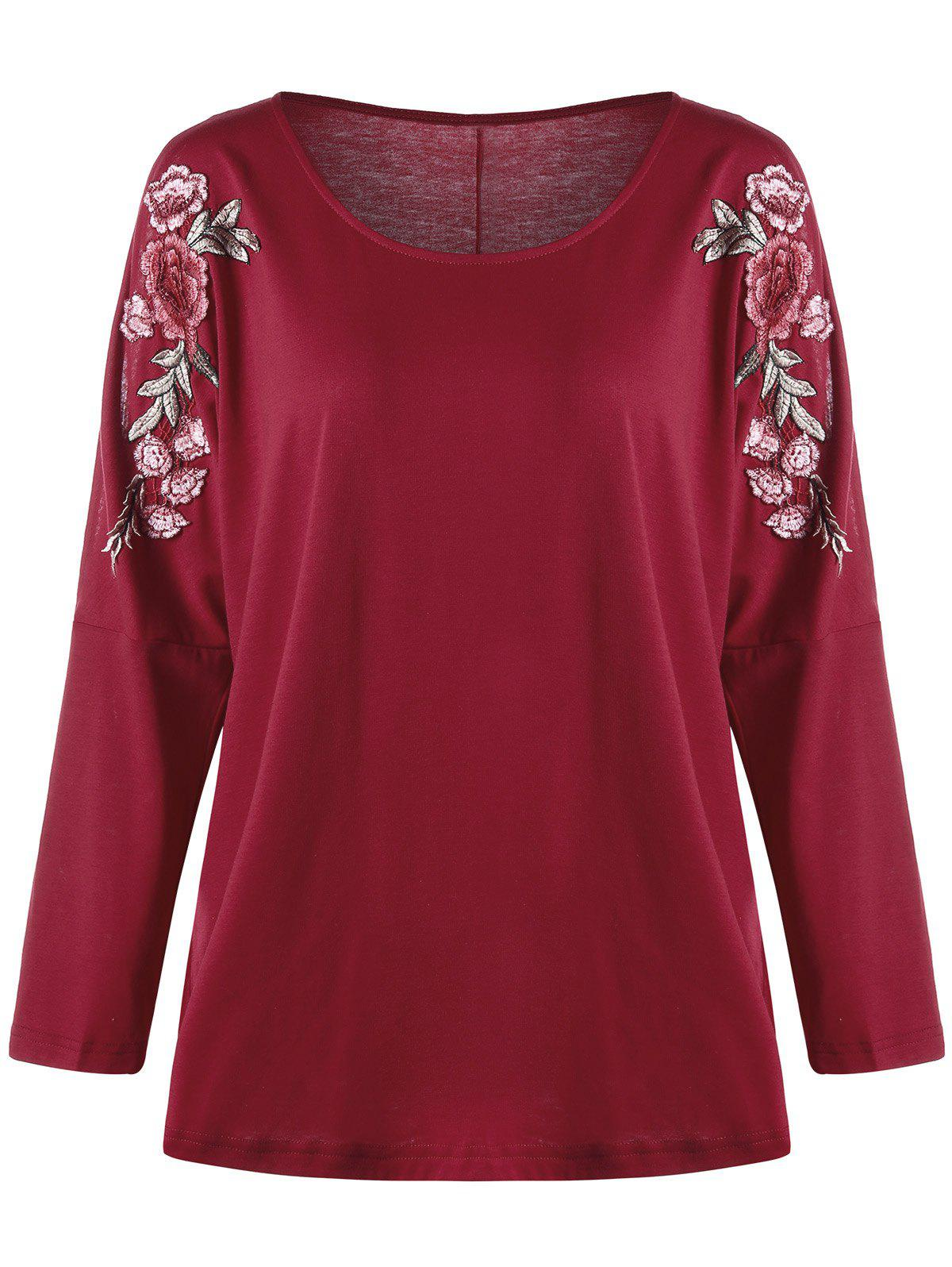 Shops Plus Size Embroidered Split Sleeve Top