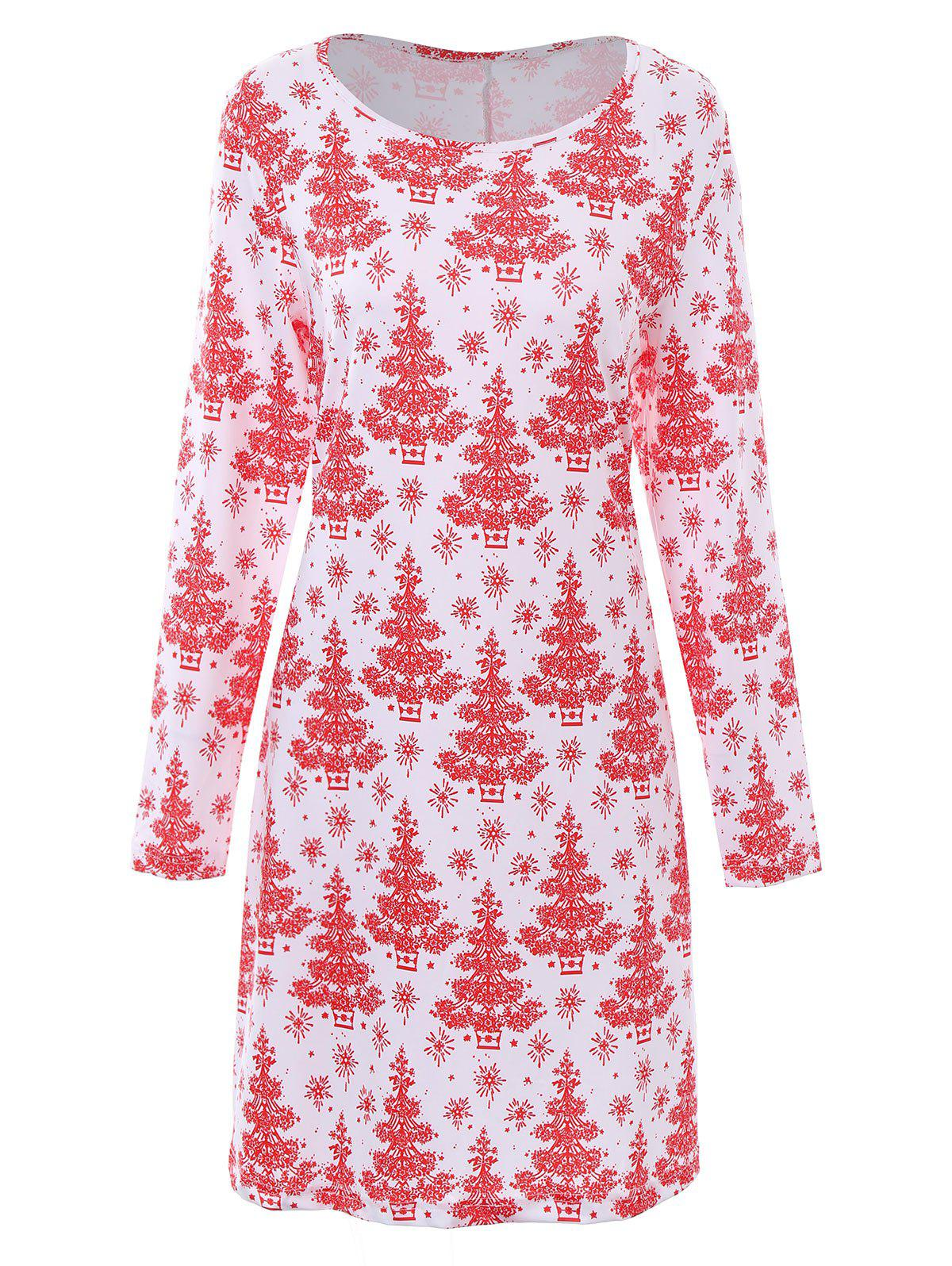 Plus Size Christmas Tree Dress with SleevesWOMEN<br><br>Size: 3XL; Color: WHITE; Style: Cute; Material: Polyester; Silhouette: Straight; Dresses Length: Knee-Length; Neckline: Scoop Neck; Sleeve Length: Long Sleeves; Pattern Type: Plant,Print; With Belt: No; Season: Fall,Winter; Weight: 0.3600kg; Package Contents: 1 x Dress;