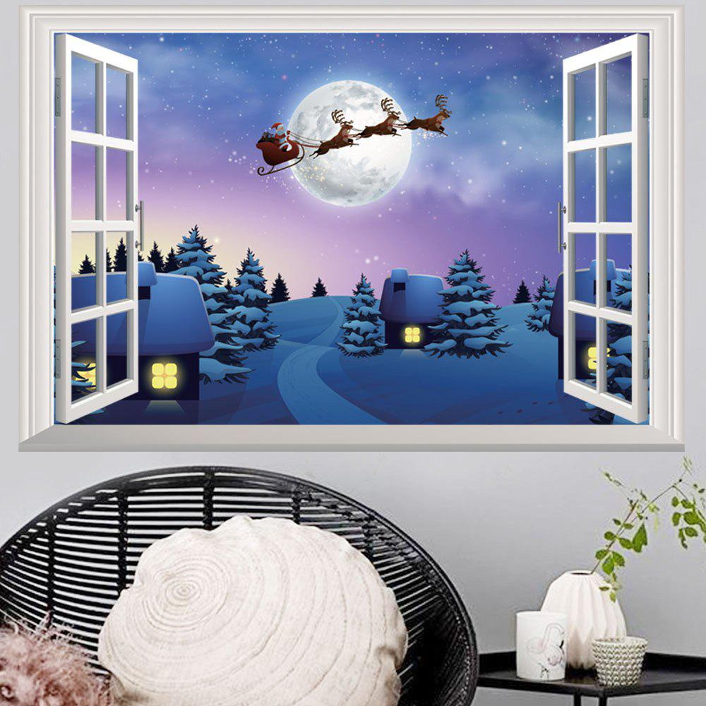 2018 window snowy christmas night 3d wall art sticker in colormix 48 5 72cm. Black Bedroom Furniture Sets. Home Design Ideas