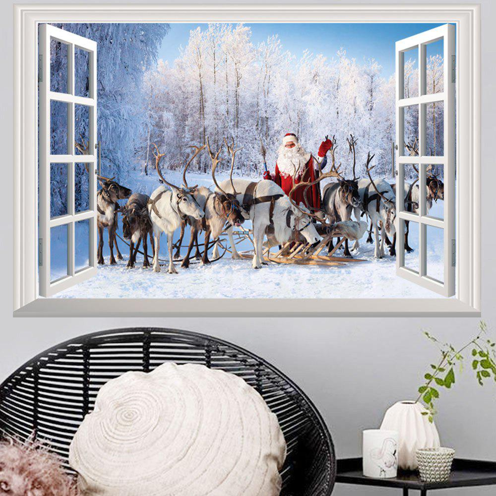 Window Forest Christmas Santa 3D Wall Art StickerHOME<br><br>Size: 48.5*72CM; Color: COLORMIX; Wall Sticker Type: 3D Wall Stickers; Functions: Decorative Wall Stickers; Theme: Christmas; Pattern Type: Animal; Material: PVC; Feature: Removable; Weight: 0.1600kg; Package Contents: 1 x Wall Sticker;