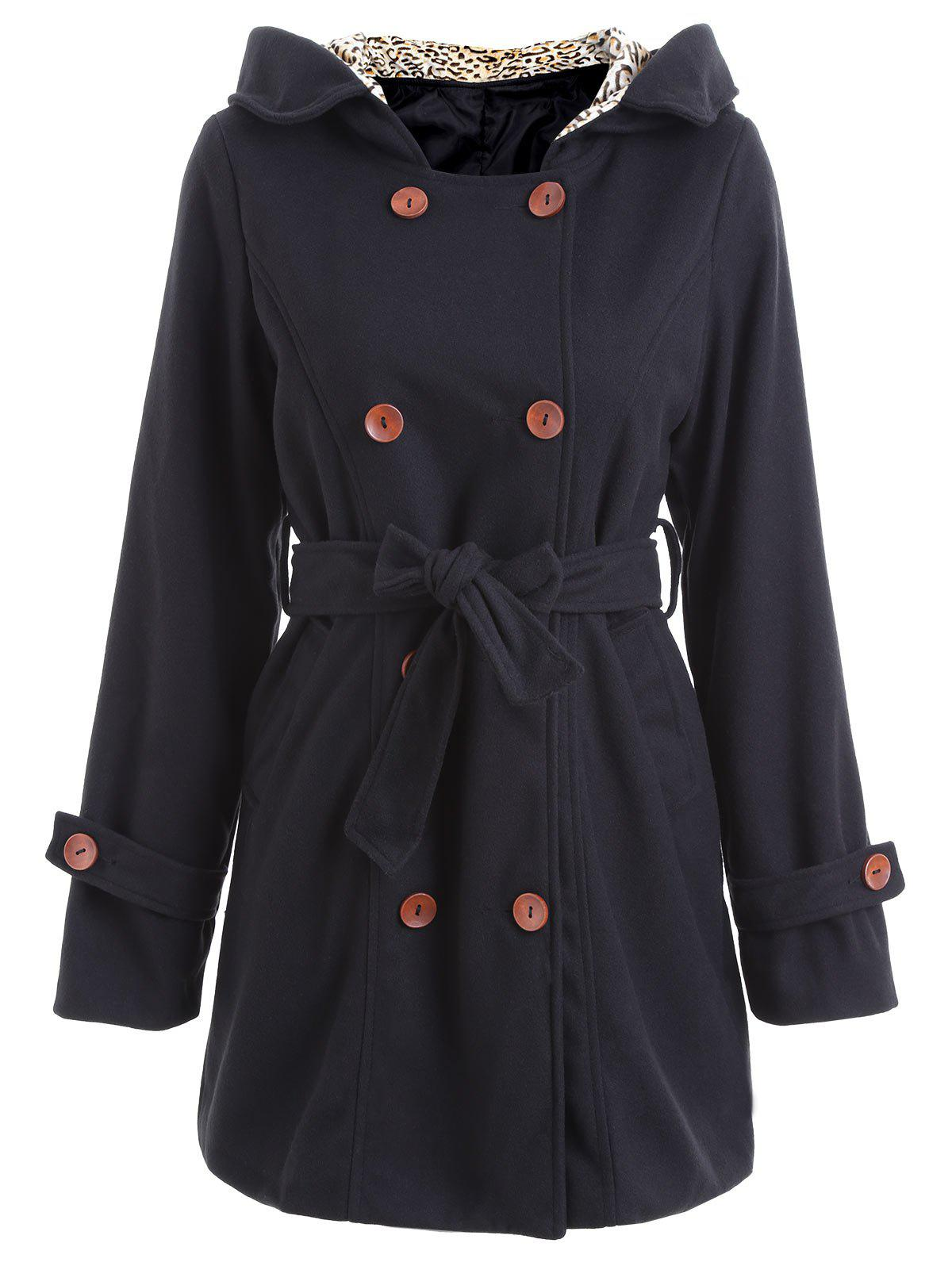 Outfits Hooded Leopard Belted Pea Coat