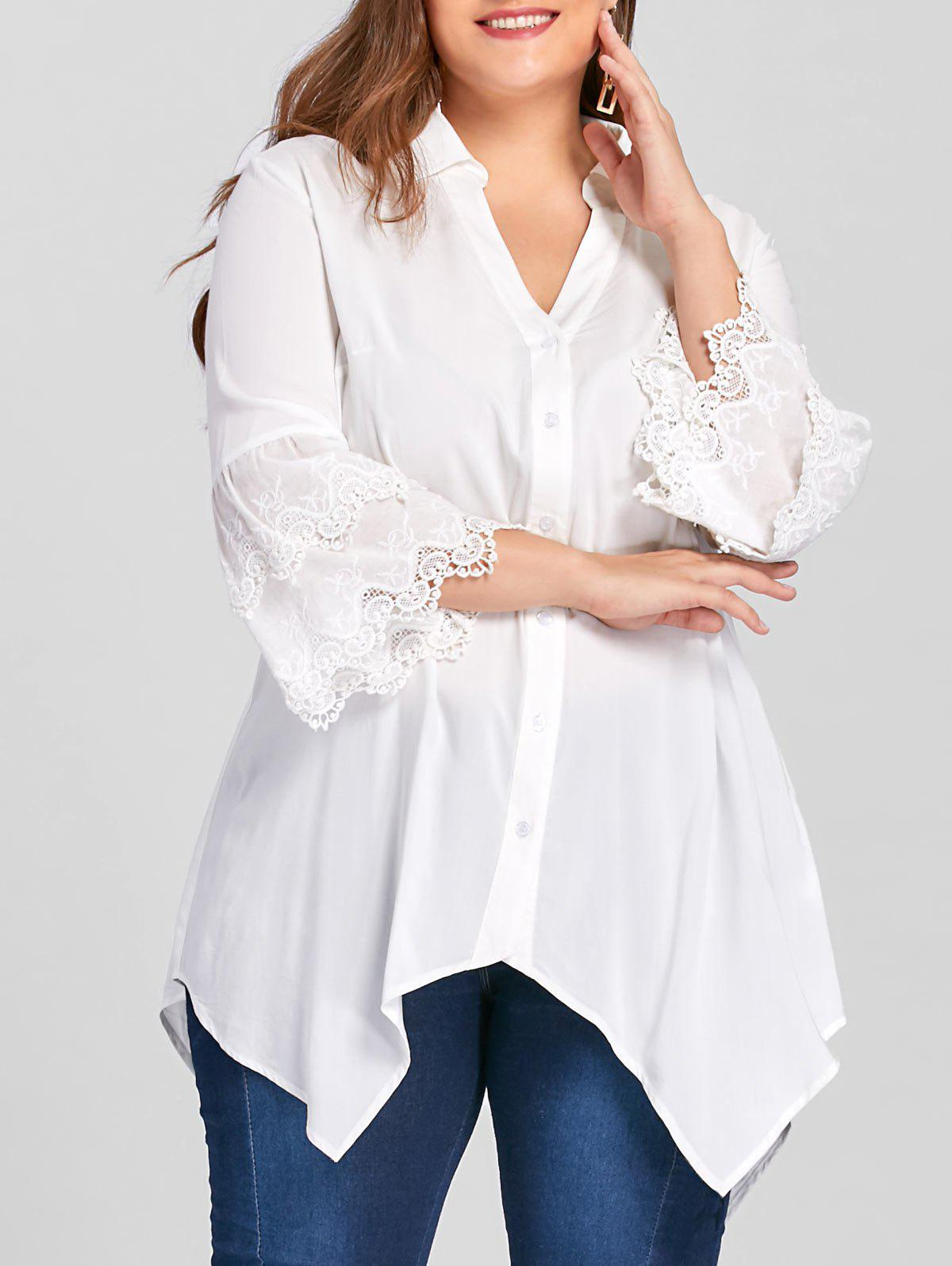 Plus Size Layered Flare Sleeve Tunic BlouseWOMEN<br><br>Size: 3XL; Color: WHITE; Material: Rayon; Shirt Length: Long; Sleeve Length: Full; Collar: Turn-down Collar; Style: Casual; Season: Fall,Spring; Embellishment: Embroidery; Pattern Type: Solid; Weight: 0.2700kg; Package Contents: 1 x Blouse;