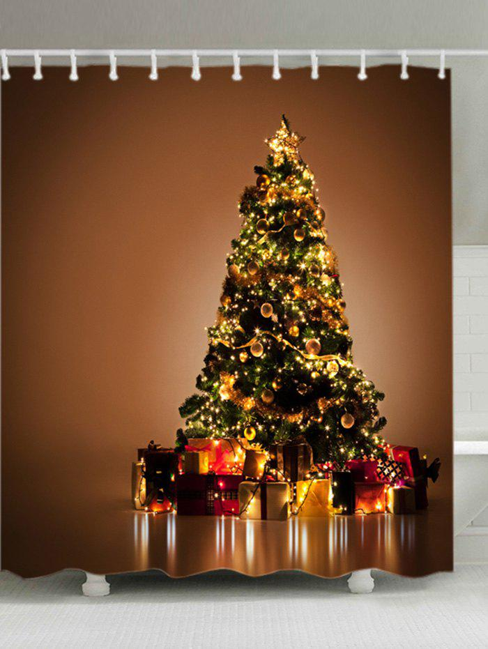 Christmas Tree Gifts Print Fabric Waterproof Bathroom Shower CurtainHOME<br><br>Size: W71 INCH * L79 INCH; Color: GOLD BROWN; Products Type: Shower Curtains; Materials: Polyester; Pattern: Plant; Style: Festival; Number of Hook Holes: W59 inch*L71 inch: 10; W71 inch*L71 inch: 12; W71 inch*L79 inch: 12; Package Contents: 1 x Shower Curtain 1 x Hooks (Set);
