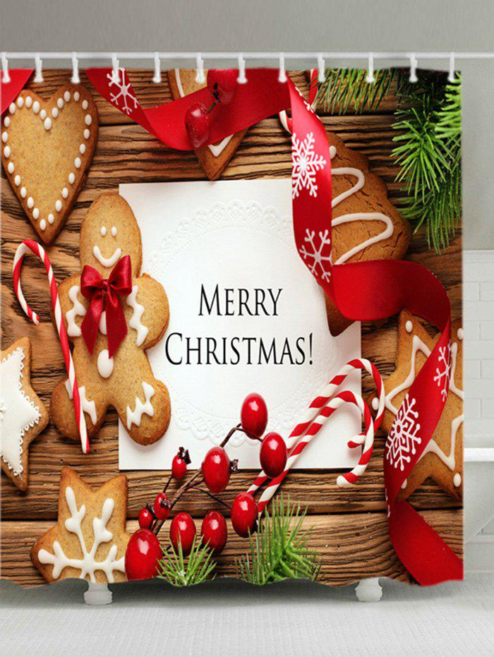 Christmas Cookies Print Fabric Waterproof Bathroom Shower CurtainHOME<br><br>Size: W71 INCH * L79 INCH; Color: COLORMIX; Products Type: Shower Curtains; Materials: Polyester; Pattern: Fruit,Plant; Style: Festival; Number of Hook Holes: W59 inch*L71 inch: 10; W71 inch*L71 inch: 12; W71 inch*L79 inch: 12; Package Contents: 1 x Shower Curtain 1 x Hooks (Set);