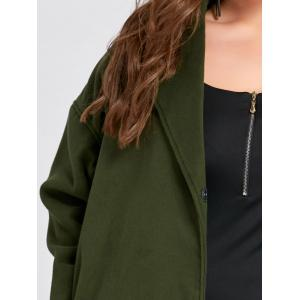 Plus Size Belted Slit Wool Blend Trench Coat - ARMY GREEN 3XL