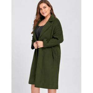 Plus Size Belted Slit Wool Blend Trench Coat -