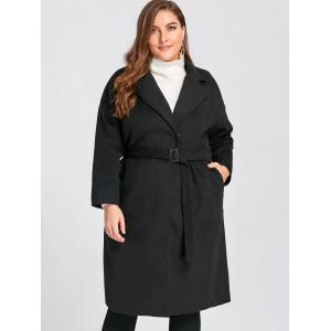 Plus Size Belted Slit Wool Blend Trench Coat - BLACK 4XL