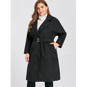 Plus Size Belted Slit Wool Blend Trench Coat - BLACK 3XL