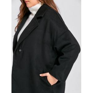 Plus Size Belted Slit Wool Blend Trench Coat - BLACK 2XL