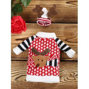 Cartoon Elk Christmas Sweater Wine Bottle Cover -