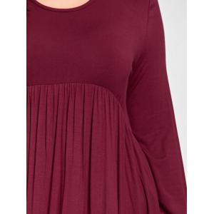 Plus Size Empire Waist High Low T Shirt Dress - CLARET 3XL