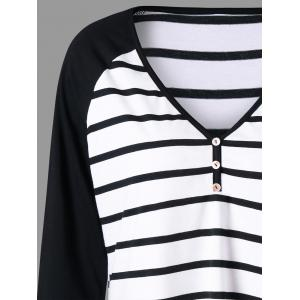 Plus Size Striped Raglan Sleeve Top -