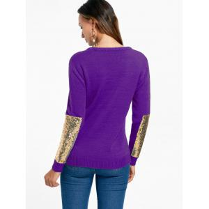 Sequin Insert Pullover Knit Sweater - PURPLE XL
