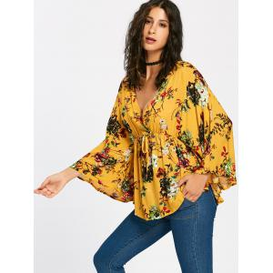 Plunging Neckline Batwing Sleeve Flower Surplice Blouse -