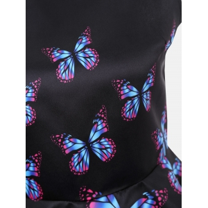 Butterfly Print Sleeveless High Low Blouse - BLACK M
