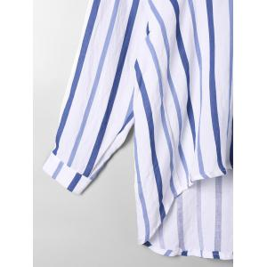 Striped Drop Shoulder High Low Blouse - BLUE STRIPE XL