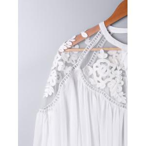 Lace Panel Floral Embroidered Oversize Top - WHITE L