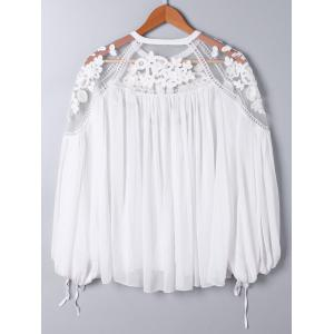 Lace Panel Floral Embroidered Oversize Top -