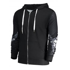Halloween Skull Wings Print Zip Up Hoodie - BLACK 2XL