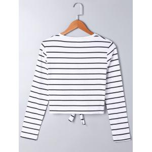 Front Knot Long Sleeve Striped Top - STRIPE L