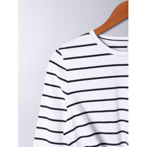 Front Knot Long Sleeve Striped Top -