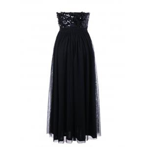Sequin Strapless Maxi Evening Party Dress - BLACK M