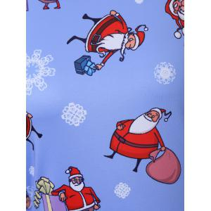 Plus Size Father Christmas Snowflake Printed Dress - CLOUDY 2XL