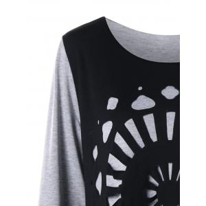 Plus Size Openwork Asymmetrical Tee Dress - BLACK AND GREY 2XL