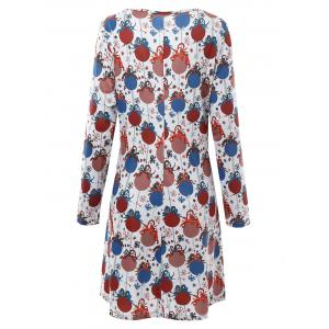 Bell Printed Plus Size Christmas Dress with Sleeves - GREY WHITE 3XL